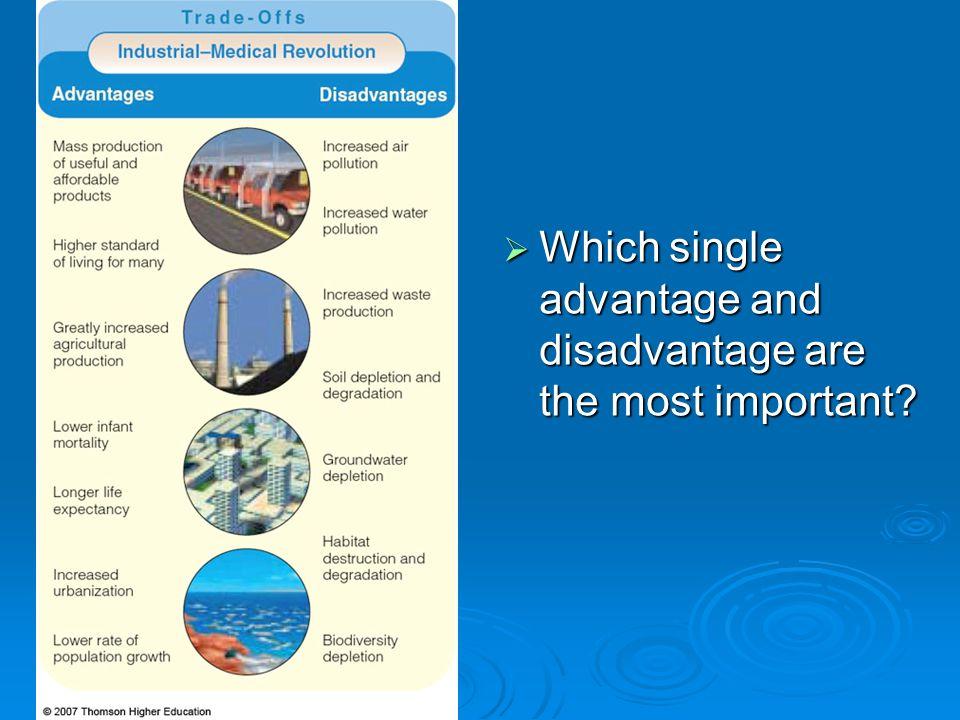 Which single advantage and disadvantage are the most important? Which single advantage and disadvantage are the most important?