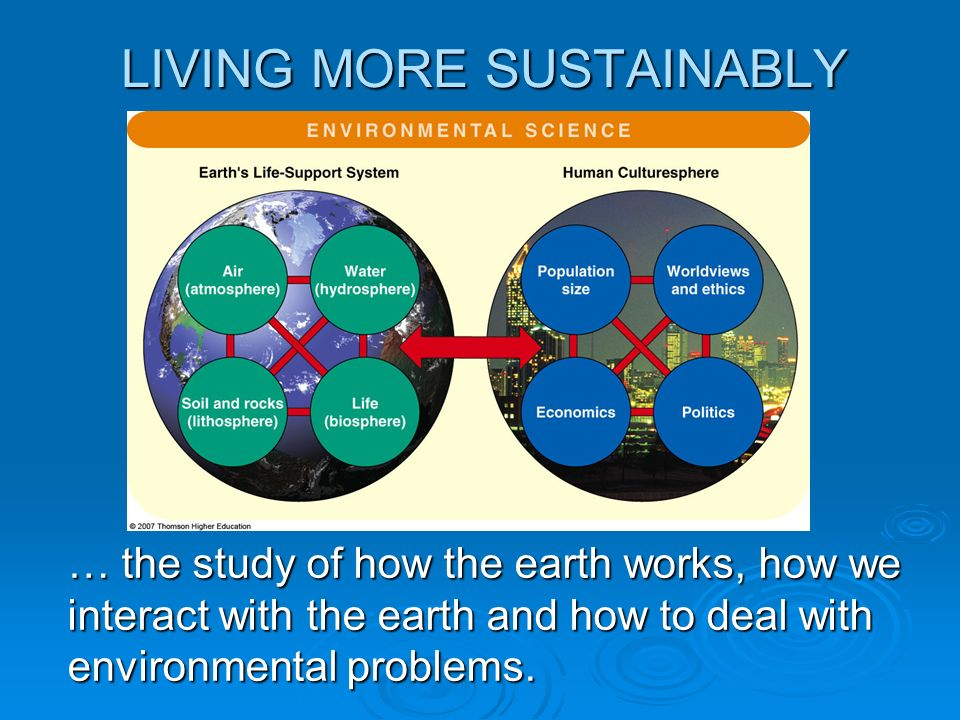 LIVING MORE SUSTAINABLY … the study of how the earth works, how we interact with the earth and how to deal with environmental problems.