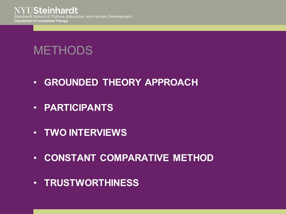 Department of Occupational Therapy METHODS GROUNDED THEORY APPROACH PARTICIPANTS TWO INTERVIEWS CONSTANT COMPARATIVE METHOD TRUSTWORTHINESS