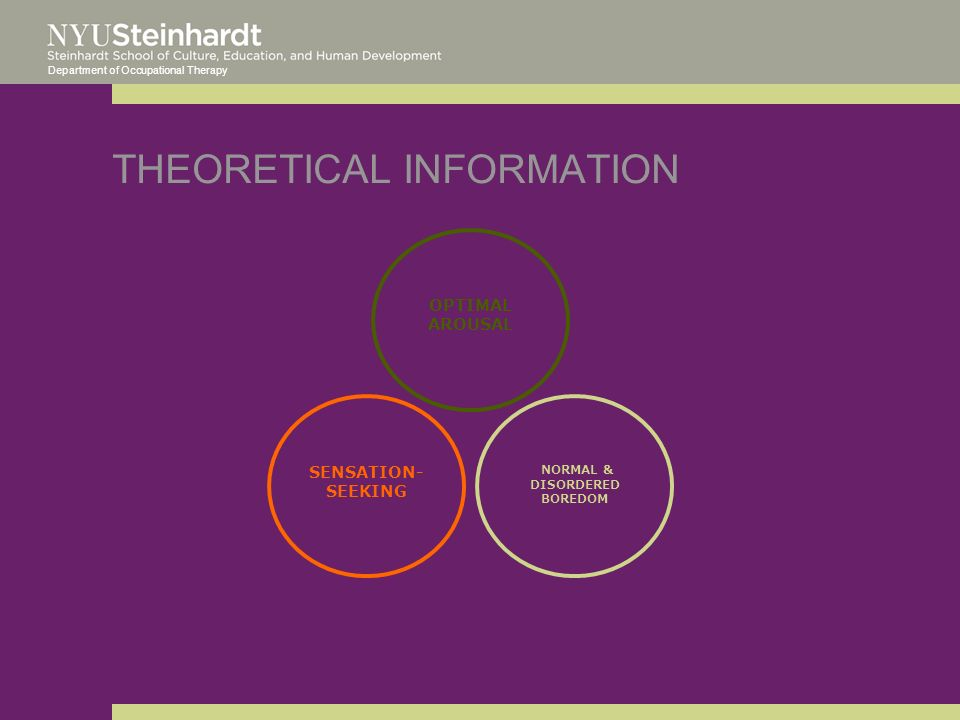 Department of Occupational Therapy THEORETICAL INFORMATION OPTIMAL AROUSAL SENSATION- SEEKING NORMAL & DISORDERED BOREDOM