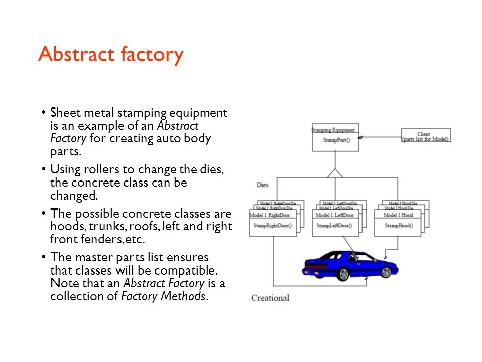 Abstract factory Provides a way to encapsulate a group of individual factories that have a common theme. In normal usage, the client software creates