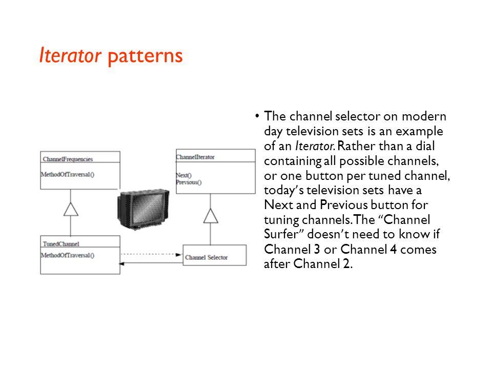 Interpreter and Iterator patterns The Interpreter pattern defines a grammatical representation for a language, and an interpreter to interpret the gra
