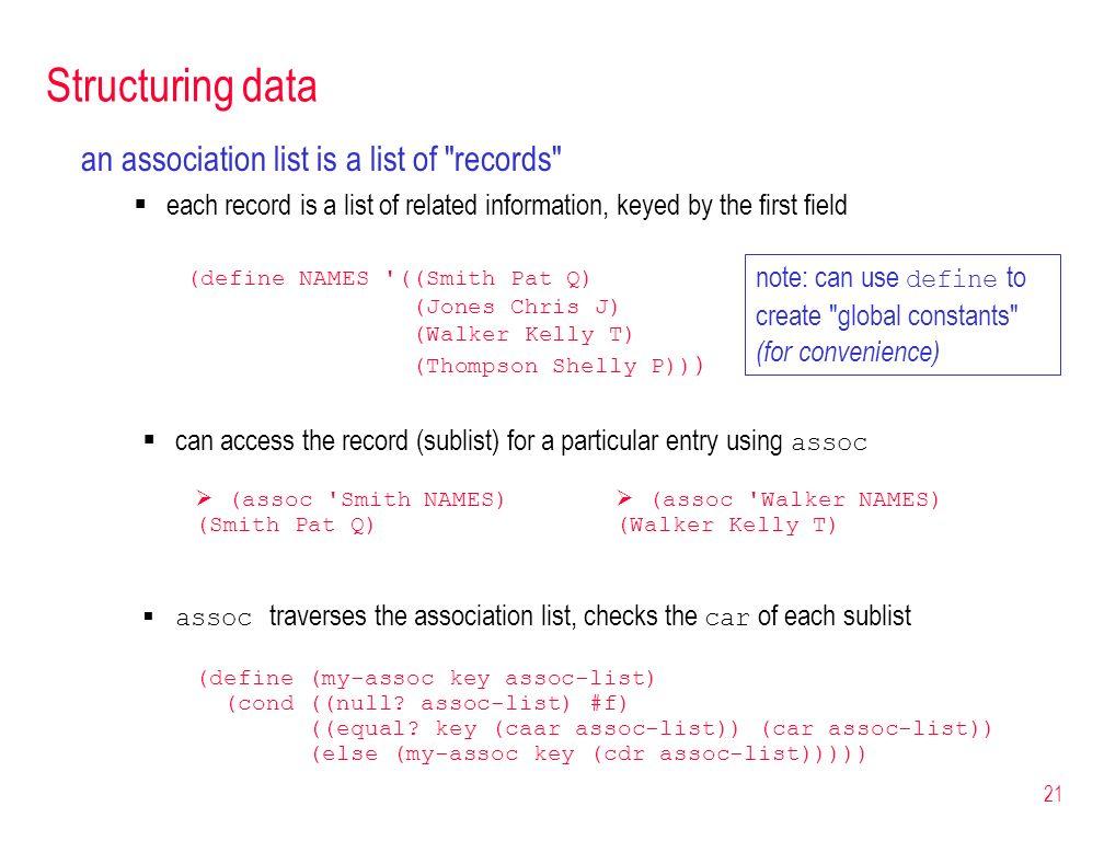 21 Structuring data an association list is a list of