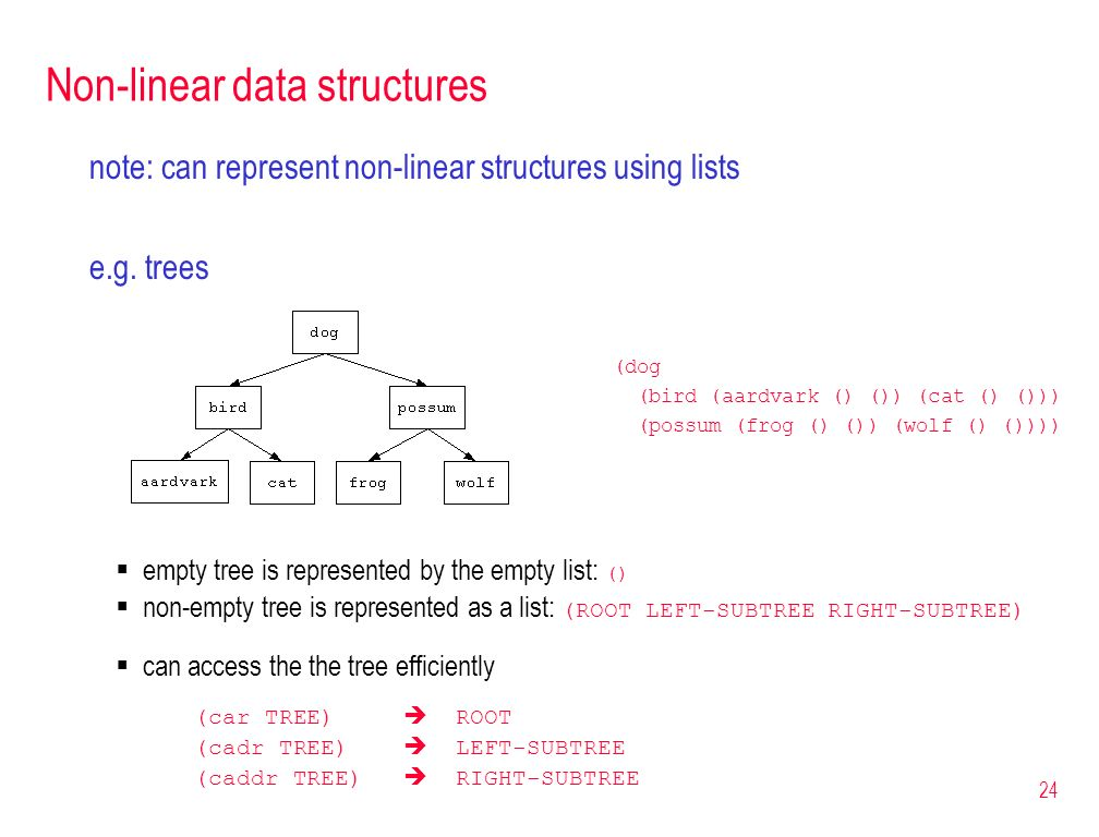 24 Non-linear data structures note: can represent non-linear structures using lists e.g. trees (dog (bird (aardvark () ()) (cat () ())) (possum (frog