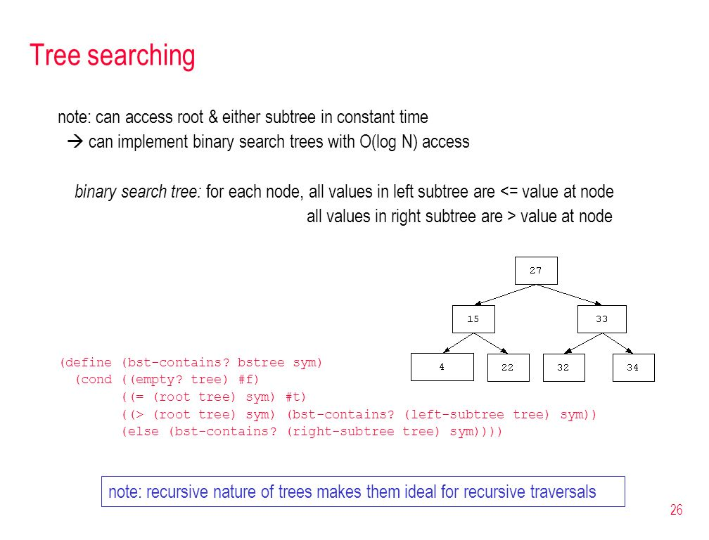 26 Tree searching note: can access root & either subtree in constant time can implement binary search trees with O(log N) access binary search tree: f