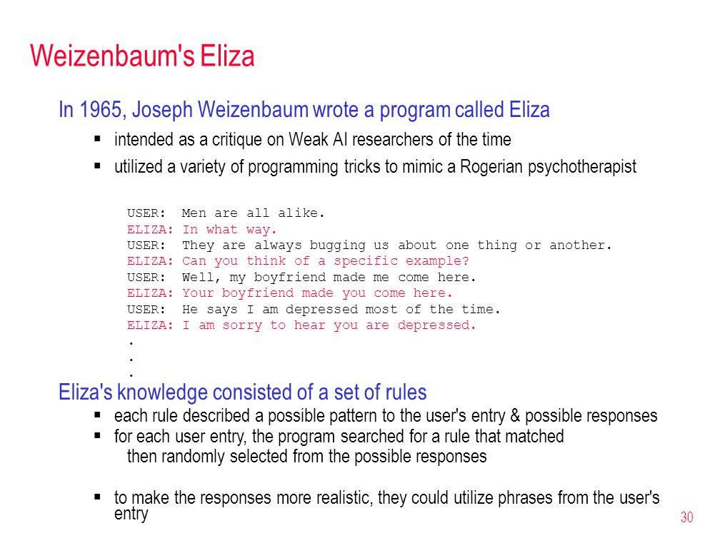 30 Weizenbaum's Eliza In 1965, Joseph Weizenbaum wrote a program called Eliza intended as a critique on Weak AI researchers of the time utilized a var