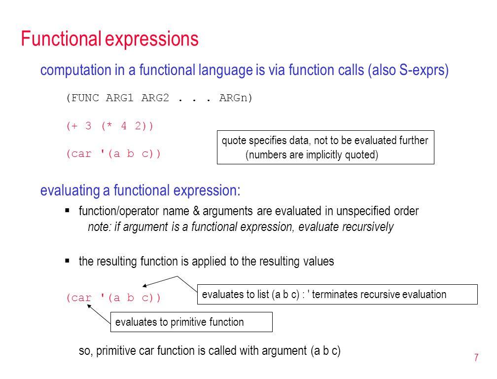 28 Let expression (define (craps) (define (roll-until point) (let ((next-roll (+ (random 6) (random 6) 2))) (cond ((= next-roll 7) LOSER) ((= next-roll point) WINNER) (else (roll-until point))))) (let ((roll (+ (random 6) (random 6) 2))) (cond ((or (= roll 2) (= roll 12)) LOSER) ((= roll 7) WINNER) (else (roll-until roll))))) fortunately, Scheme provides a clean mechanism for creating variables to store (immutable) values (let ((VAR1 VALUE1) (VAR2 VALUE2)...