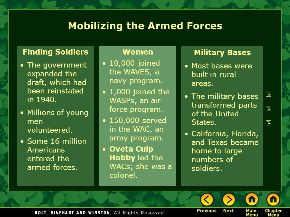 Finding Soldiers The government expanded the draft, which had been reinstated in 1940. Millions of young men volunteered. Some 16 million Americans en