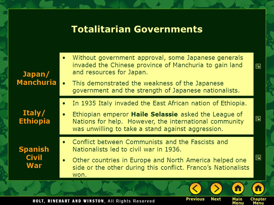 Totalitarian Governments In 1935 Italy invaded the East African nation of Ethiopia. Ethiopian emperor Haile Selassie asked the League of Nations for h