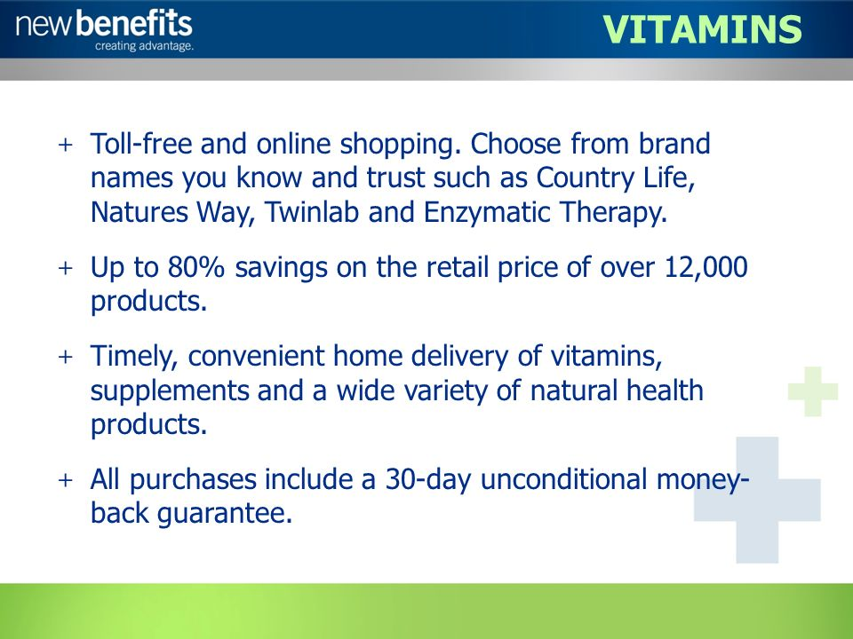 VITAMINS + Toll-free and online shopping.
