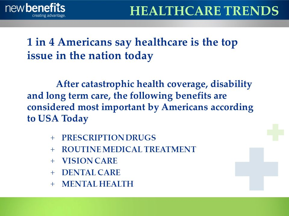 HEALTHCARE TRENDS 1 in 4 Americans say healthcare is the top issue in the nation today After catastrophic health coverage, disability and long term ca