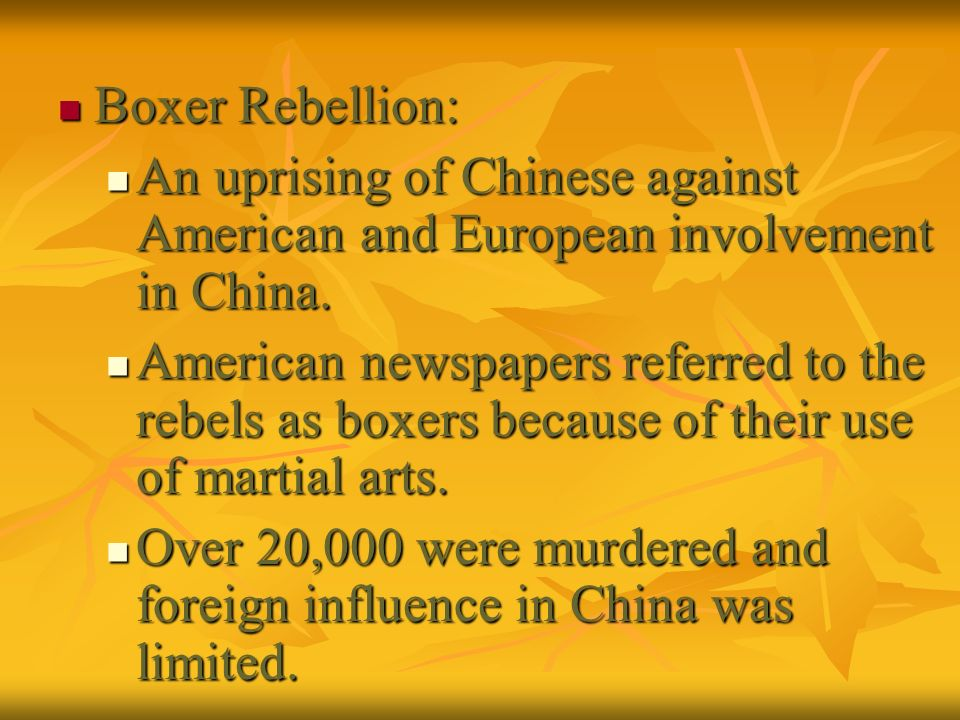 Boxer Rebellion: Boxer Rebellion: An uprising of Chinese against American and European involvement in China. An uprising of Chinese against American a