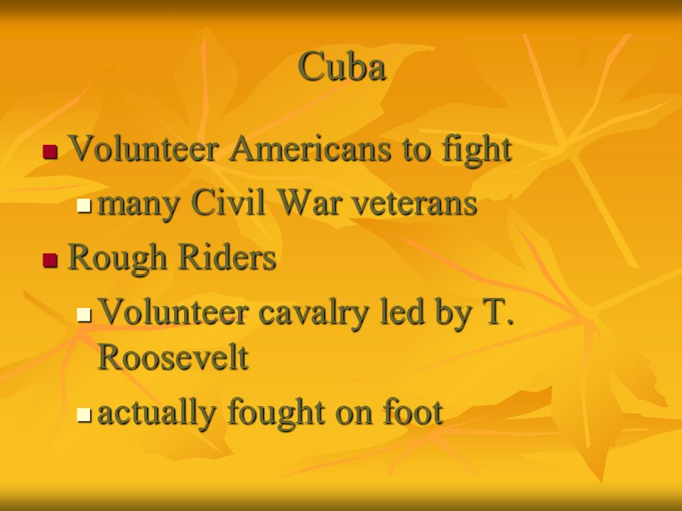 Cuba Volunteer Americans to fight Volunteer Americans to fight many Civil War veterans many Civil War veterans Rough Riders Rough Riders Volunteer cav