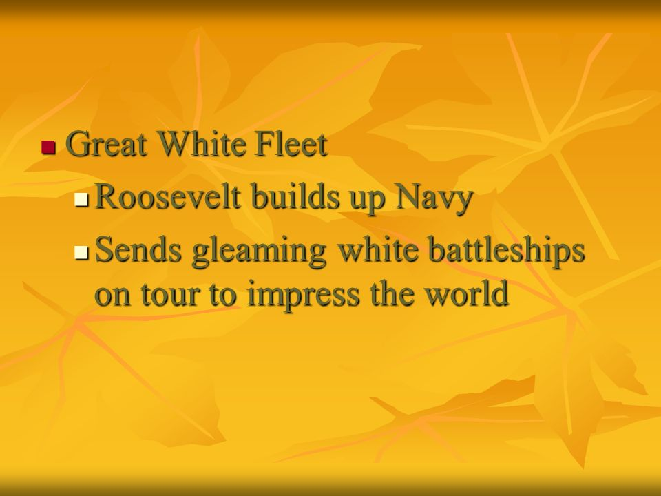 Great White Fleet Great White Fleet Roosevelt builds up Navy Roosevelt builds up Navy Sends gleaming white battleships on tour to impress the world Se