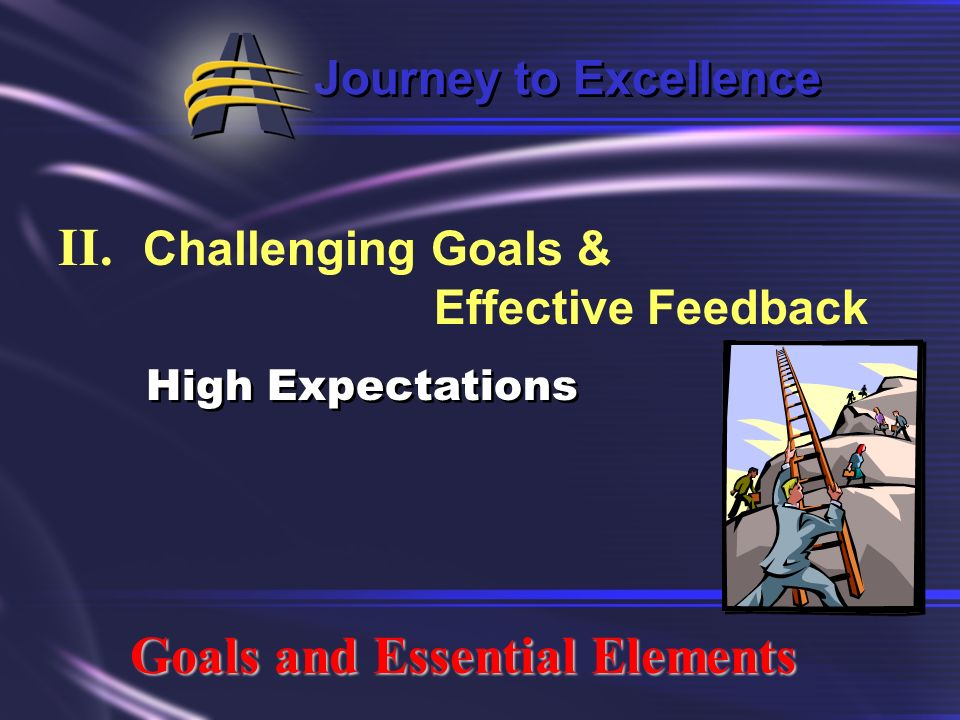 Journey to Excellence II. Challenging Goals & Effective Feedback Goals and Essential Elements