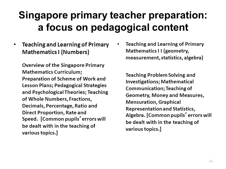 Singapore primary teacher preparation: a focus on pedagogical content Teaching and Learning of Primary Mathematics I (Numbers) Overview of the Singapore Primary Mathematics Curriculum; Preparation of Scheme of Work and Lesson Plans; Pedagogical Strategies and Psychological Theories; Teaching of Whole Numbers, Fractions, Decimals, Percentage, Ratio and Direct Proportion, Rate and Speed.