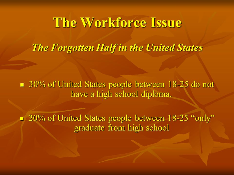 The Workforce Issue The Forgotten Half in the United States 30% of United States people between 18-25 do not have a high school diploma. 30% of United
