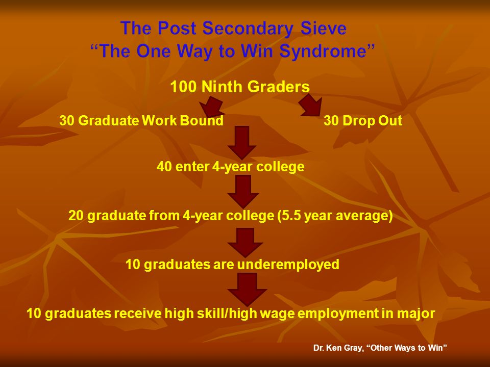 100 Ninth Graders 30 Graduate Work Bound 30 Drop Out 40 enter 4-year college 20 graduate from 4-year college (5.5 year average) 10 graduates are under