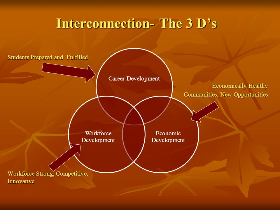 Career Development Economic Development Workforce Development Interconnection- The 3 Ds Interconnection- The 3 Ds Economically Healthy Communities, Ne