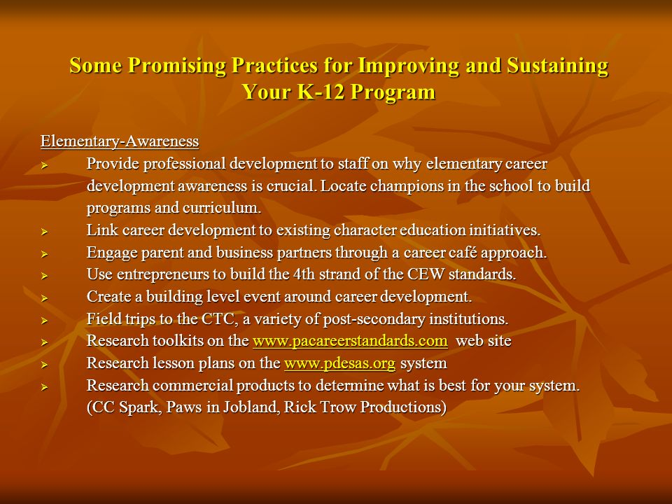 Some Promising Practices for Improving and Sustaining Your K-12 Program Elementary-Awareness Provide professional development to staff on why elementa
