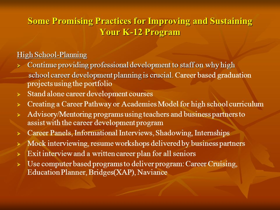Some Promising Practices for Improving and Sustaining Your K-12 Program High School-Planning Continue providing professional development to staff on w