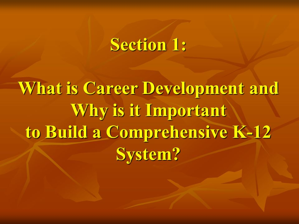 Section 1: What is Career Development and Why is it Important to Build a Comprehensive K-12 System?