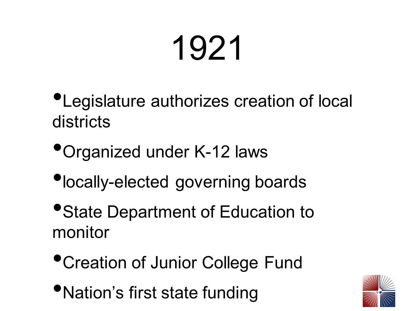 1921 Legislature authorizes creation of local districts Organized under K-12 laws locally-elected governing boards State Department of Education to monitor Creation of Junior College Fund Nations first state funding