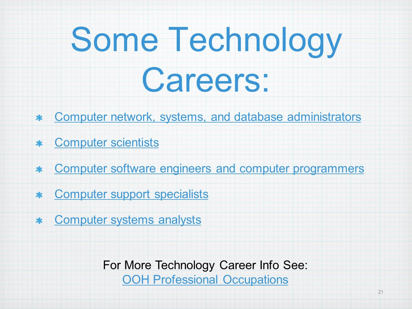 21 Some Technology Careers: Computer network, systems, and database administrators Computer scientists Computer software engineers and computer progra