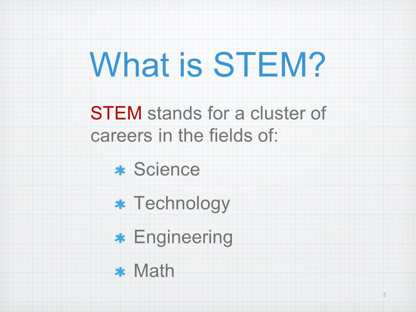 5 What is STEM? STEM stands for a cluster of careers in the fields of: Science Technology Engineering Math