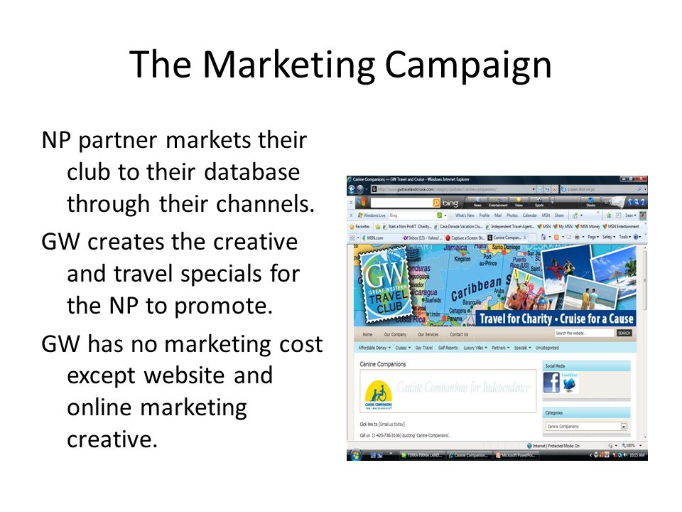 The Marketing Campaign NP partner markets their club to their database through their channels.