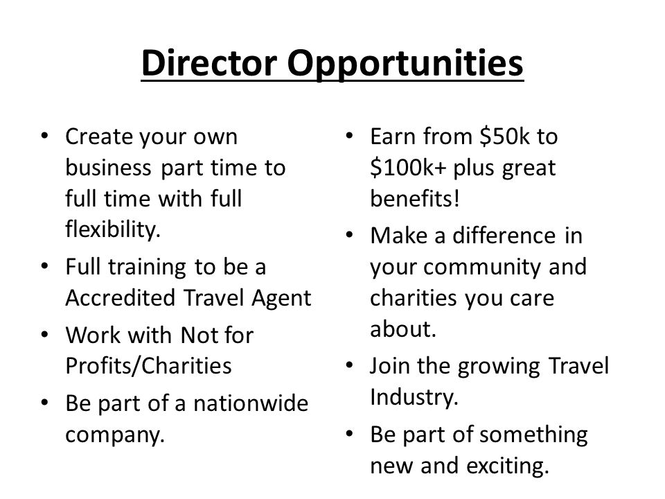 Director Opportunities Create your own business part time to full time with full flexibility.