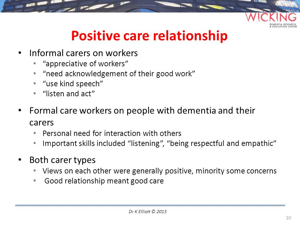 Positive care relationship Informal carers on workers appreciative of workers need acknowledgement of their good work use kind speech listen and act F