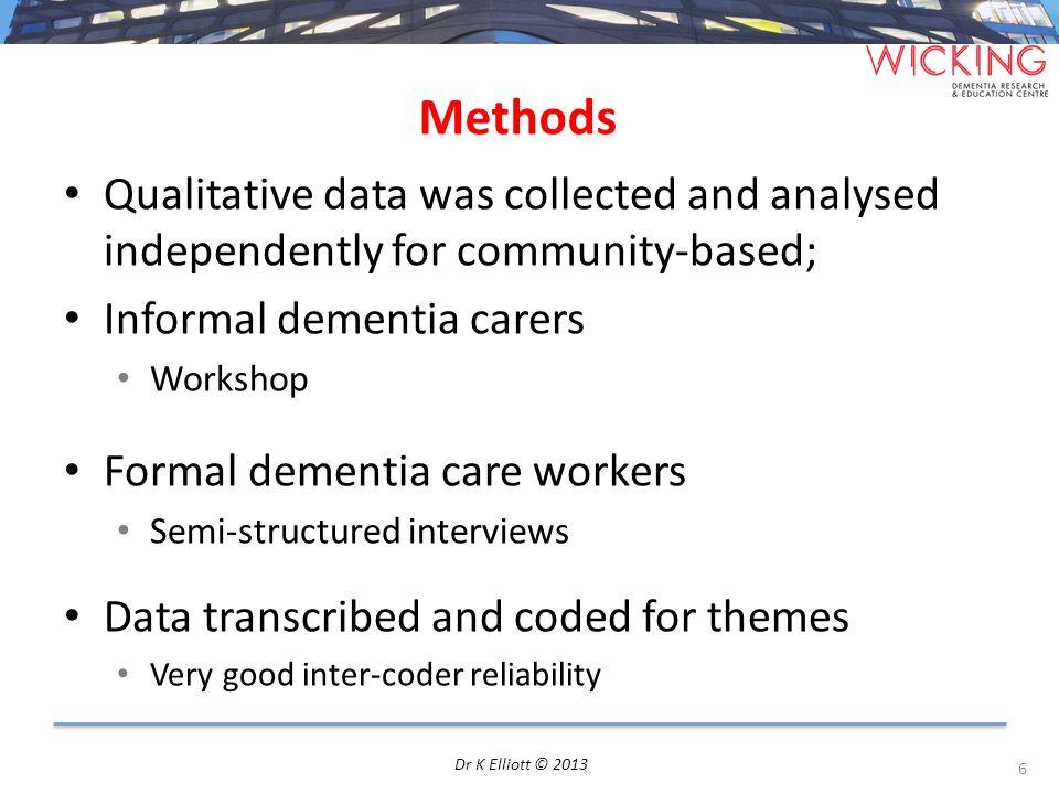 Brief demographics compared 7 Dr K Elliott © 2013 N= 61 (36 Informal carers; 25 formal care workers)