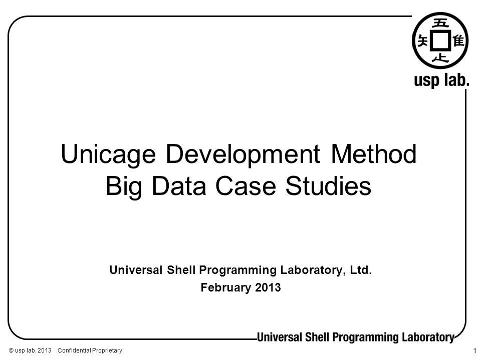 © usp lab. 2013 Confidential Proprietary 1 Universal Shell Programming Laboratory, Ltd. February 2013 Unicage Development Method Big Data Case Studies