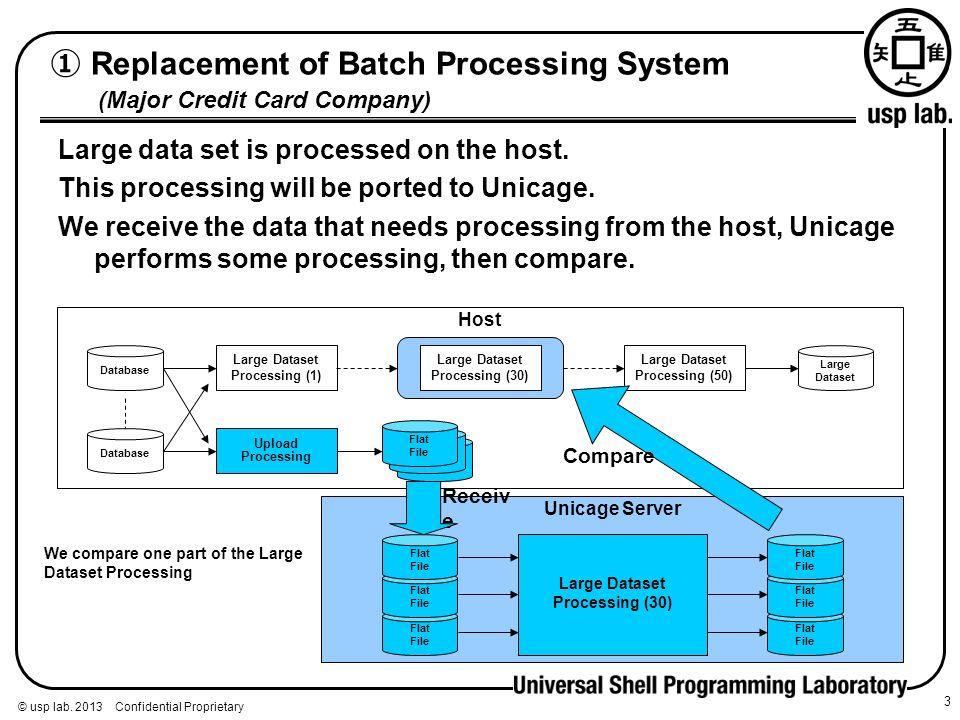 © usp lab. 2013 Confidential Proprietary Replacement of Batch Processing System (Major Credit Card Company) 3 Large data set is processed on the host.
