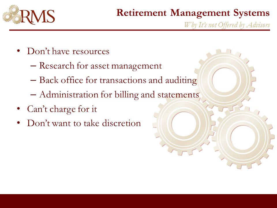 Retirement Management Systems Matt Keenum National Director of Business Development 410-972-2498 Contact Us