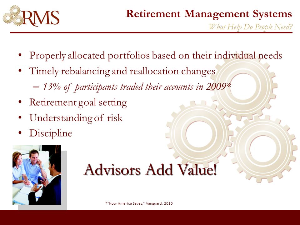 Retirement Management Systems To empower independent financial advisors to provide a managed 401(k)/403(b) account solution for their individual and plan sponsor clients.