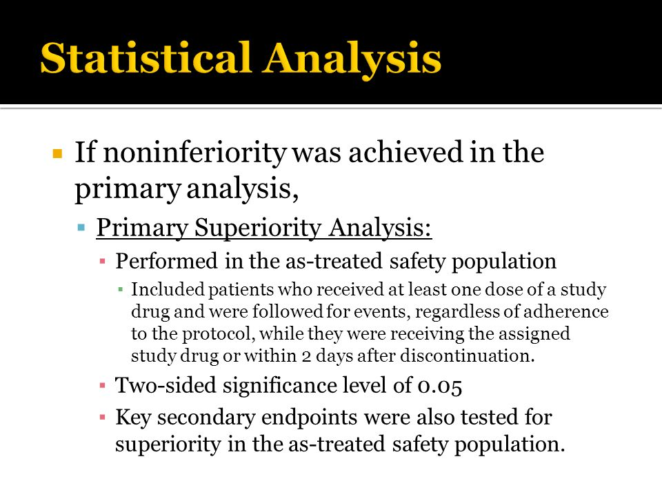 If noninferiority was achieved in the primary analysis, Primary Superiority Analysis: Performed in the as-treated safety population Included patients