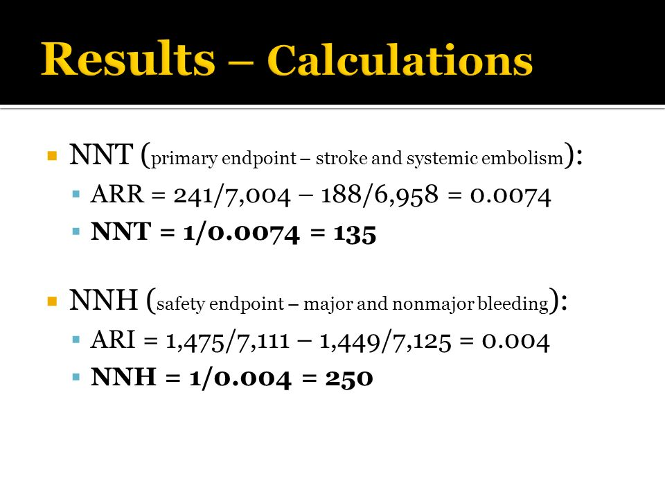 NNT ( primary endpoint – stroke and systemic embolism ): ARR = 241/7,004 – 188/6,958 = 0.0074 NNT = 1/0.0074 = 135 NNH ( safety endpoint – major and n