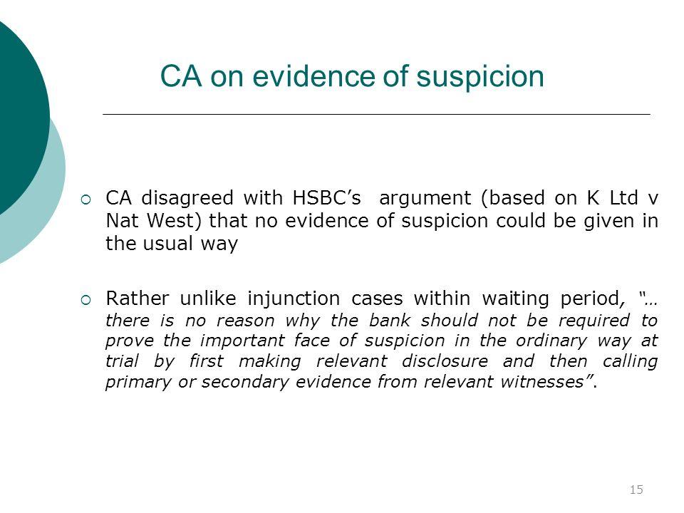 15 CA on evidence of suspicion CA disagreed with HSBCs argument (based on K Ltd v Nat West) that no evidence of suspicion could be given in the usual