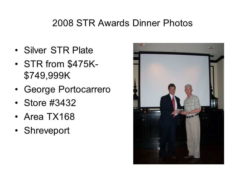 2008 STR Awards Dinner Photos Silver STR Plate STR from $475K- $749,999K George Portocarrero Store #3432 Area TX168 Shreveport