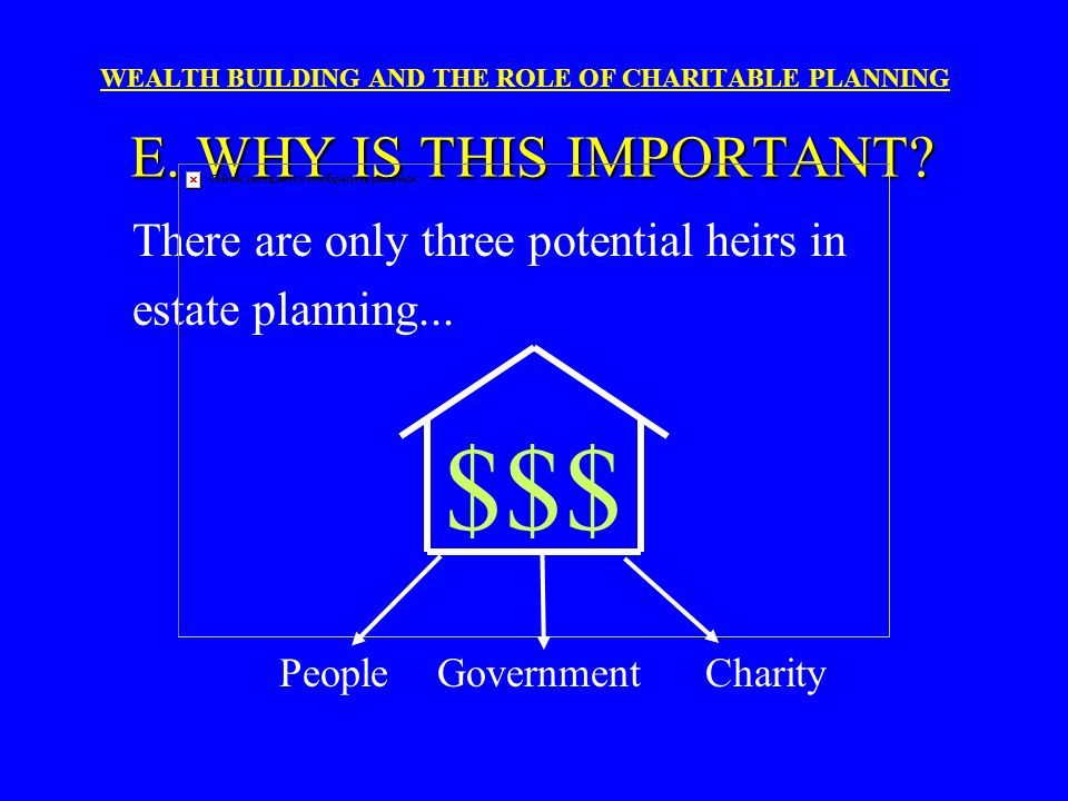 WEALTH BUILDING AND THE ROLE OF CHARITABLE PLANNING Nearly 80% of all Americans have charitable receptivity. WHY IS THIS IMPORTANT?