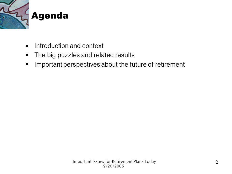 Important Issues for Retirement Plans Today 9/20/2006 1 Todays presentation Focuses on –Key points in history of retirement plans –System successes an