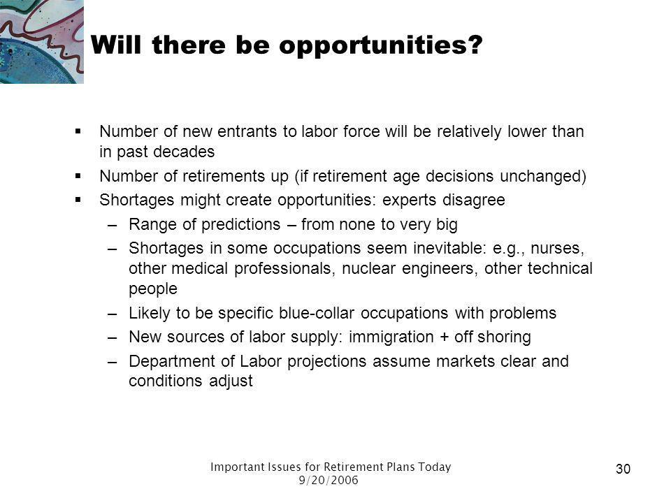 Important Issues for Retirement Plans Today 9/20/2006 29 A majority use training and skills from their primary occupation. When you worked in retireme
