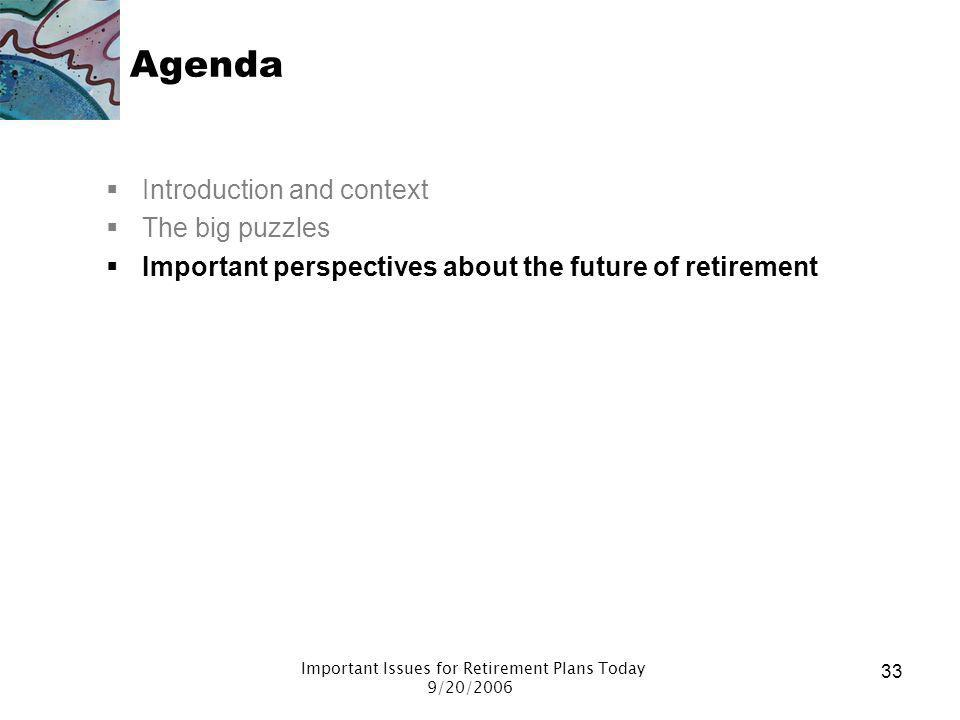 Important Issues for Retirement Plans Today 9/20/2006 32 Puzzles around benefit adequacy Traditional actuarial view: need 70% - 80% of pre-retirement