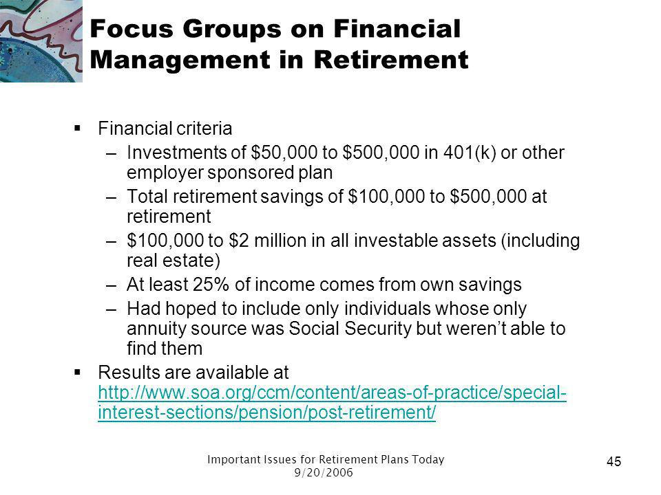 Important Issues for Retirement Plans Today 9/20/2006 44 Focus groups: Informal approach Informal approach to retirement –Most had a good sense of the