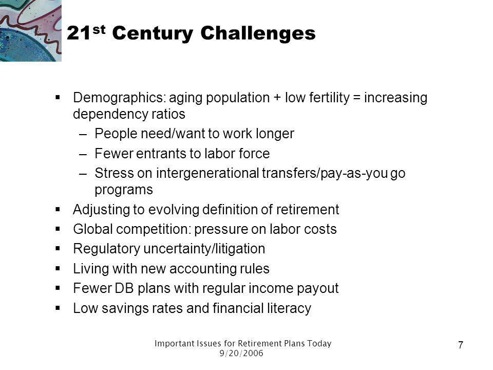 Important Issues for Retirement Plans Today 9/20/2006 6 Successes and Failures Failures About four in 10 retire before they choose – premature retirem