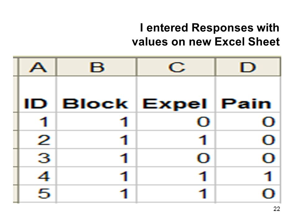 22 I entered Responses with values on new Excel Sheet