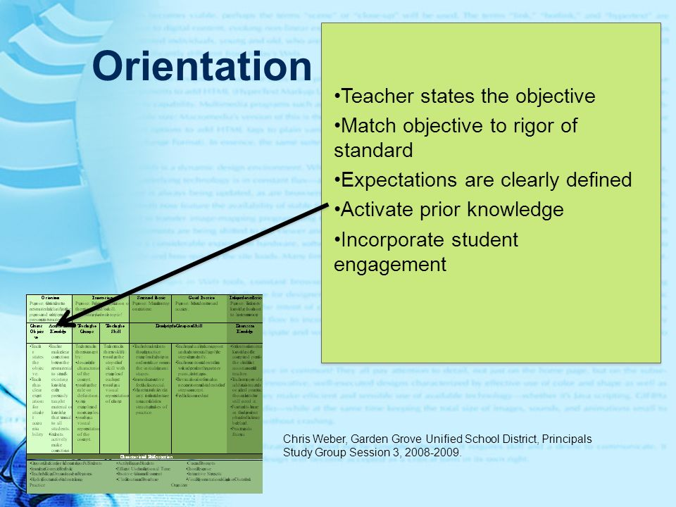 Orientation Teacher states the objective Match objective to rigor of standard Expectations are clearly defined Activate prior knowledge Incorporate st