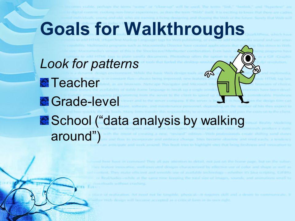 Goals for Walkthroughs Look for patterns Teacher Grade-level School (data analysis by walking around)